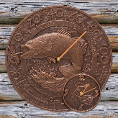Bass Outdoor Wall Clock and Thermometer Combo