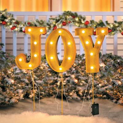 Battery Operated Joy Christmas Pathway Lights
