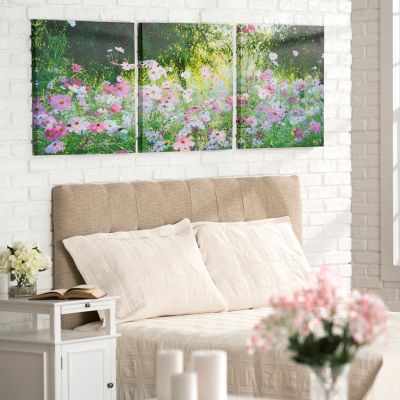 Field of Daisies Triptych Canvas Prints