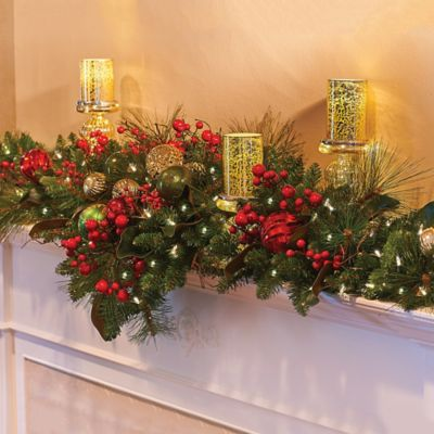 Merry and Bright Lighted Mantel Christmas Swag-6'