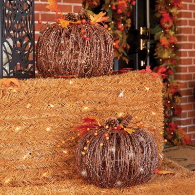 Pre-Lit Grapevine Pumpkin Fall Decoration