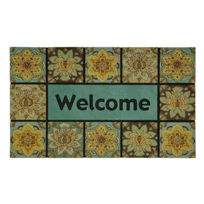 Sunburst Floral Outdoor Rubber Door Mat
