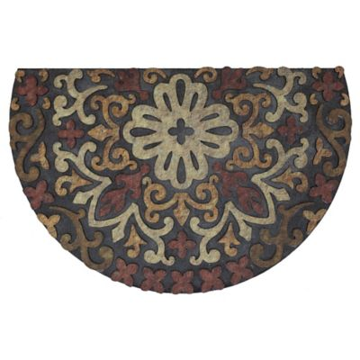 French Medallion Half Round Outdoor Rubber Door Mat