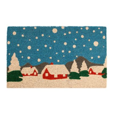 Snowy Village Coir Door Mat
