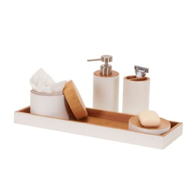 5 Piece Bamboo Bathroom Accessory Set