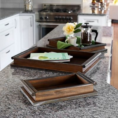 Rustic Wooden Trays-Set of 3