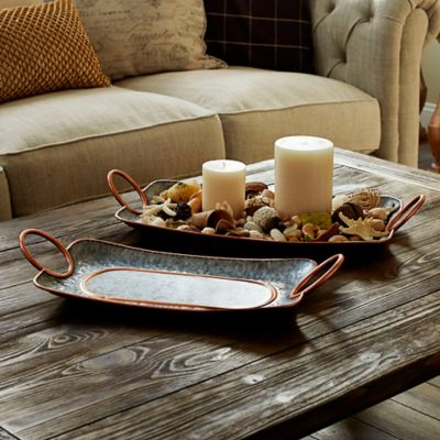 Galvanized Metal Decorative Trays-Set of 2