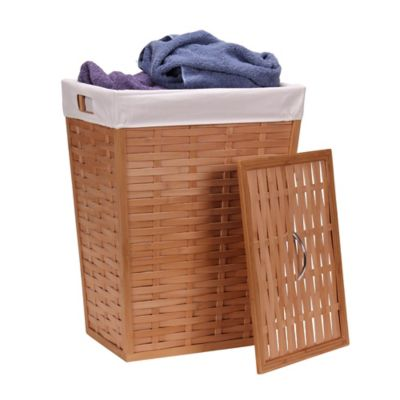 Bamboo Clothes Hamper Basket with Lid