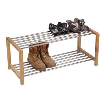 Bamboo and Metal Shoe Rack