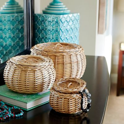 Round Willow Storage Baskets-Set of 3