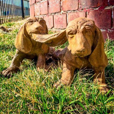 Two Playful Hounds Garden Statue
