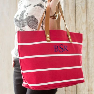 Personalized Canvas Tote with Leather Handles