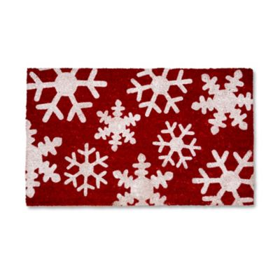 Red Snowflake Outdoor Door Mats