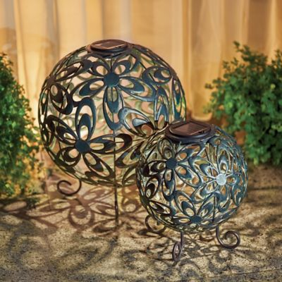 Round Metal Solar Lanterns-Set of 2