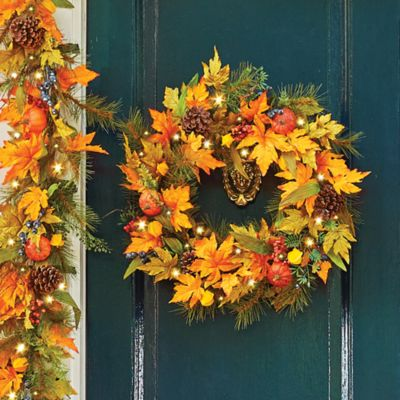Japanese Lantern Fall Wreath-22""