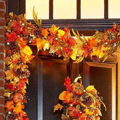 6' Pre-Lit Fall Foliage Garland