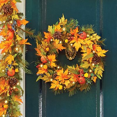 Japanese Lantern Fall Wreath-18""