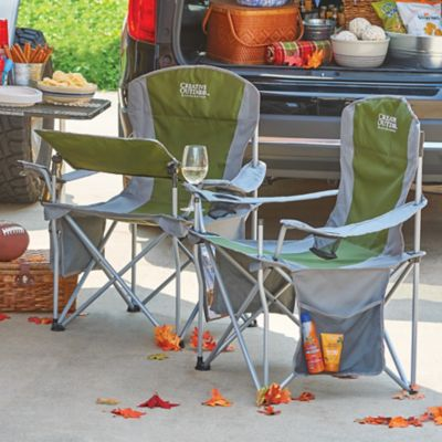 Outdoor Folding Chair with Table and Wine Glass