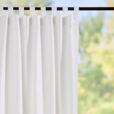 Tab-Top Semi-Opaque Outdoor Curtain Panels-White