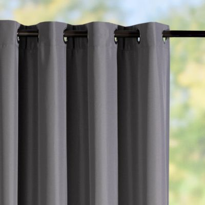 Grommet-Top Semi-Opaque Outdoor Curtain Panels-Grey