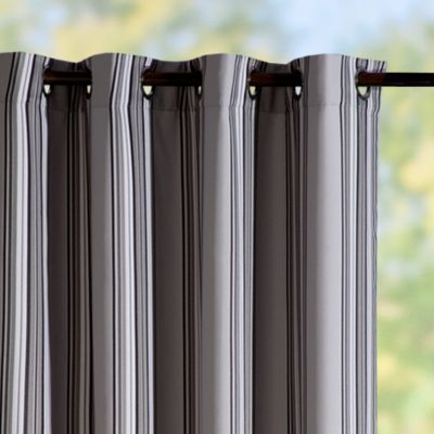 Grommet-Top Semi-Opaque Outdoor Curtain Panels-Grey Stripe