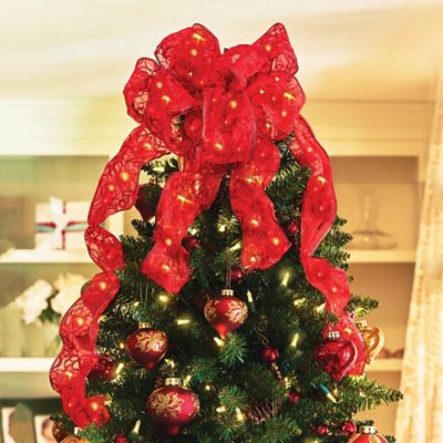 Lighted Ribbon and Bow Christmas Decoration