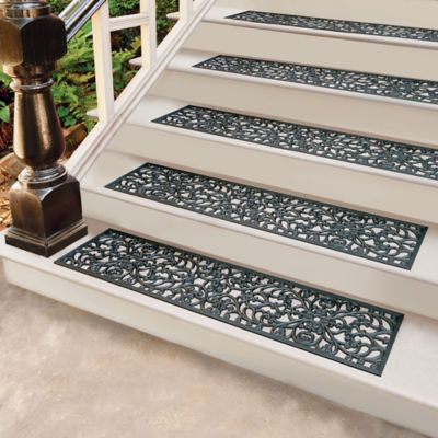 Windsor Scroll Black Rubber Stair Treads & Door