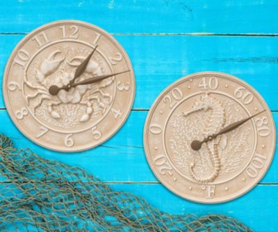 Sea Life Outdoor Clock & Thermometer