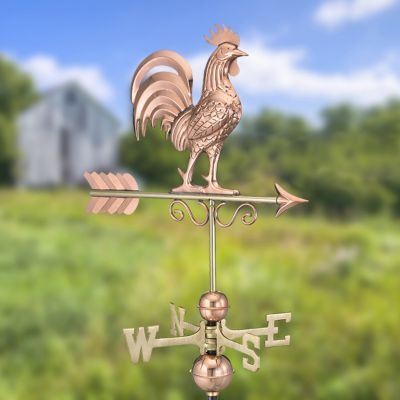 Polished Copper Bantam Rooster Weathervane