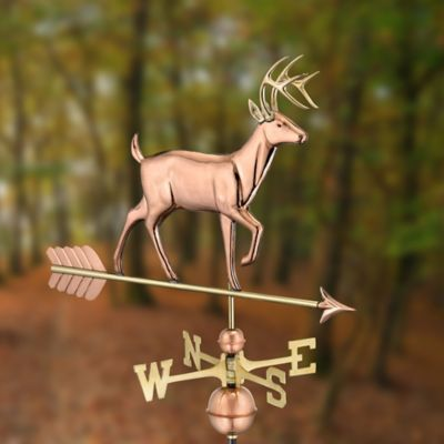 Polished Copper Whitetail Buck Weathervane