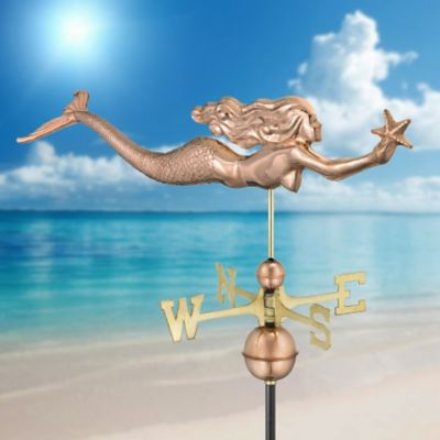 Polished Copper Mermaid Weathervane