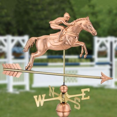 Polished Copper Jumping Horse and Rider Weathervane
