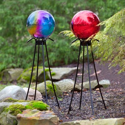 Stainless Steel Gazing Ball and Stand