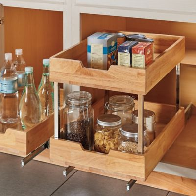 Lower Wooden Cabinet Pull-Out Drawer Organizers