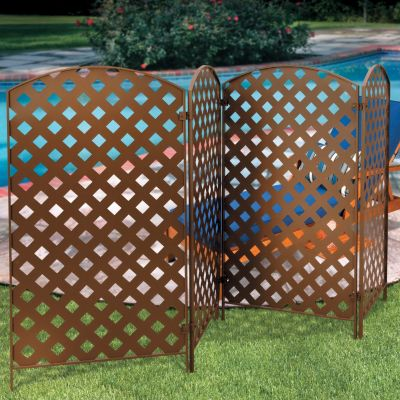 4panel bronzed metal privacy screens - Outdoor Privacy Screens