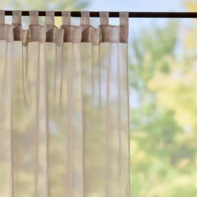 Tab | Top Sheer Voile Outdoor Curtain Panels | Taupe | Improvements Catalog