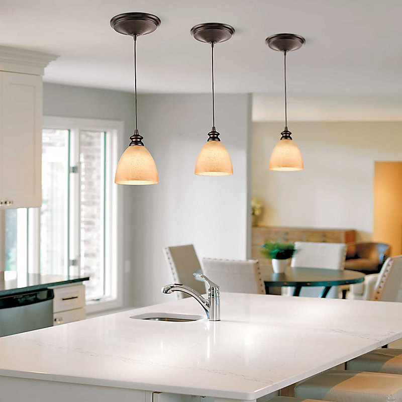 Transitional Glass Instant Pendant Light - Brushed Nickel