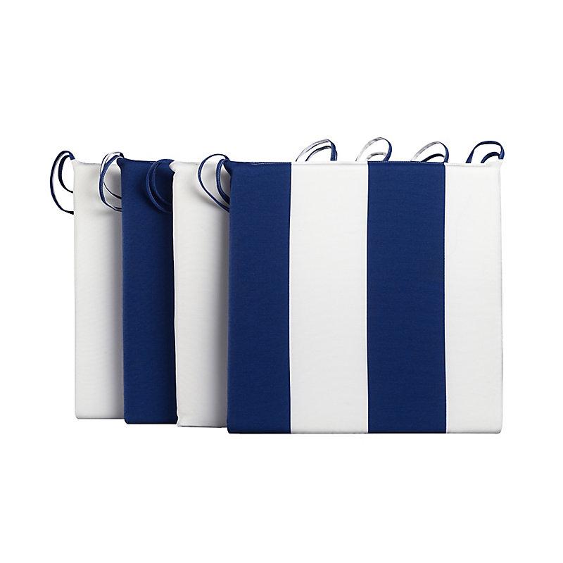 """Patio Seat Cushion 4-Pack 16""""x16""""x1-1/2"""" - Blue/White Str..."""