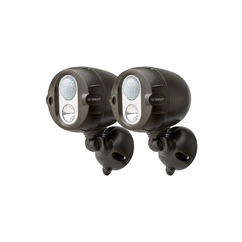 NETBRIGHT Motion Sensor Wireless Spotlight-Set of 2 - Brown