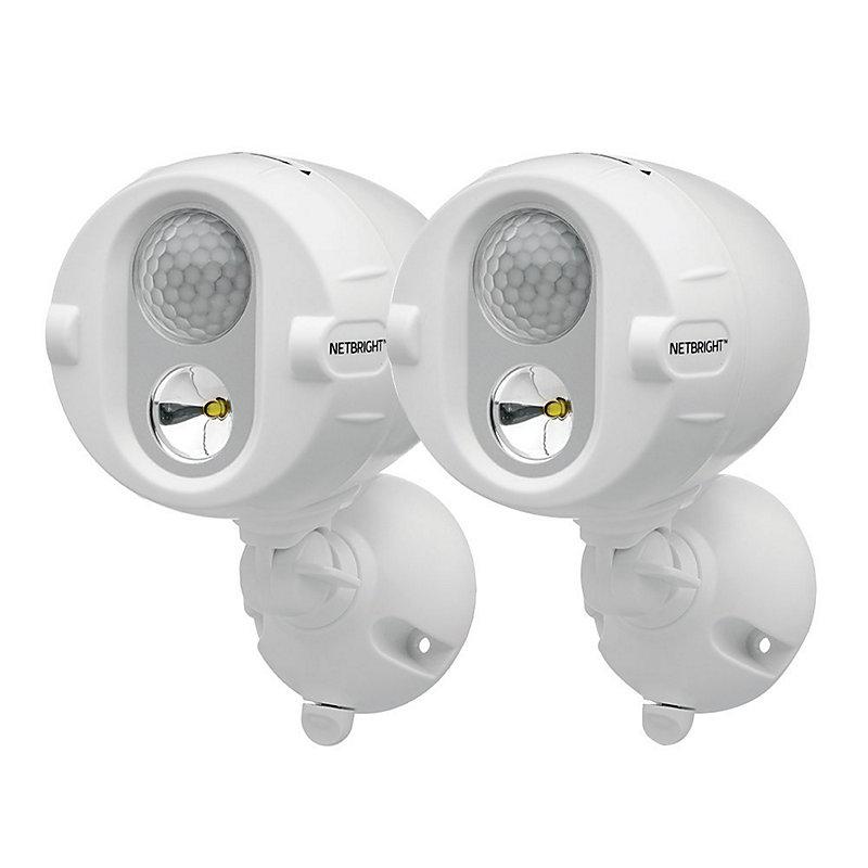NETBRIGHT Motion Sensor Wireless Spotlight-Set of 2 - White