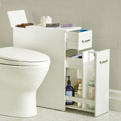 Weatherby bathroom pedestal sink storage cabinet for Slim bathroom cabinet