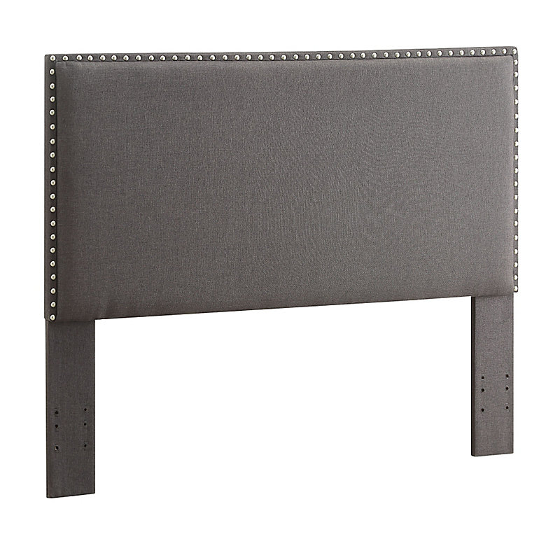 Contempo Nailhead Upholstered Headboard-Full/Queen - Charcoal Gray