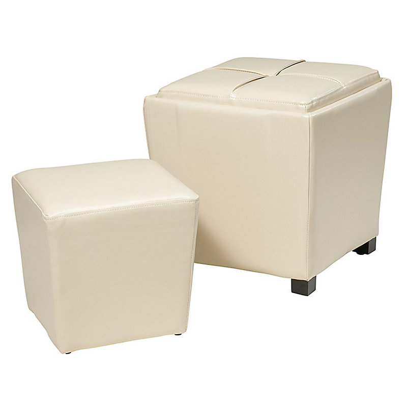 2 Piece Faux Leather Ottoman Set - Espresso