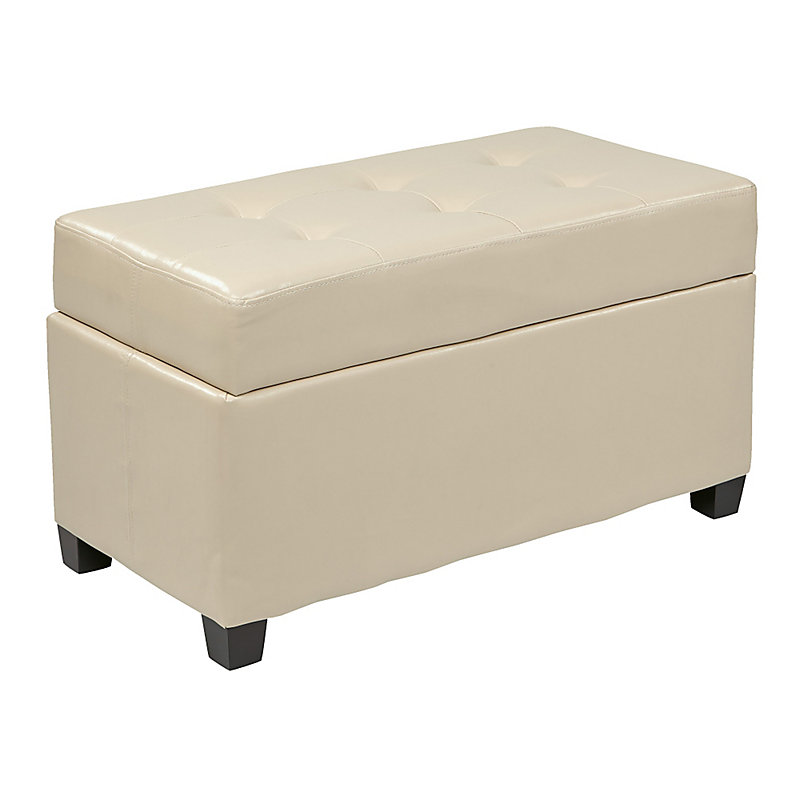Textured Storage Ottoman - Red