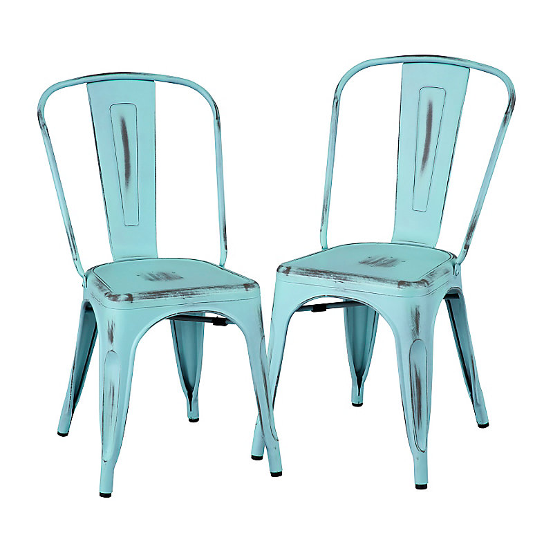 Alfresco Metal Dining Chairs-Set of 2 - Sky Blue