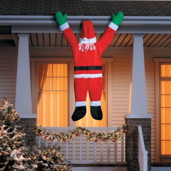 Hanging Santa Claus Roof Gutter Tree Balcony Stair
