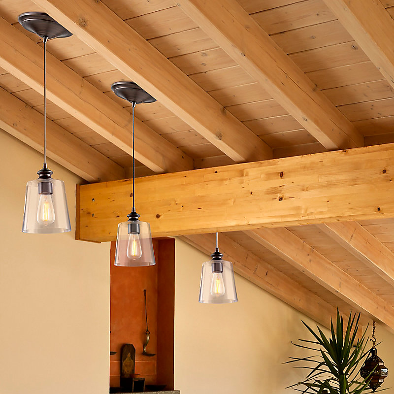 Instant Pendant Light with Clear Glass Shade