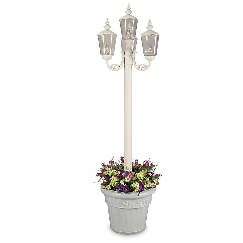 Cambridge 4 Light Lamppost with Planter - White