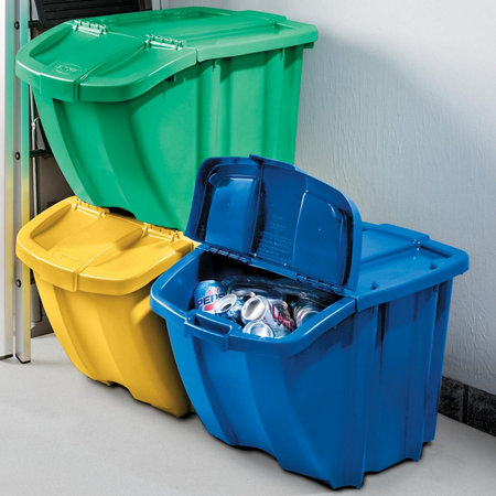 Suncast stackable recycling bins set of 3 improvements catalog - Recycle containers for home use ...