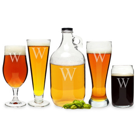 personalized craft beer glassware set 5 pc